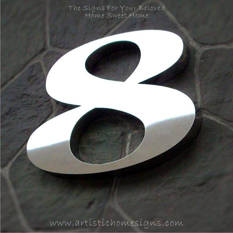 Weather Resistant House Numbers - High Gloss Polish Finished 8