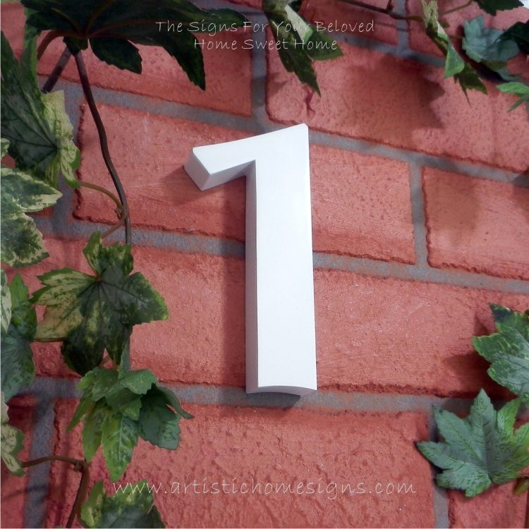 Weather Resistant House Numbers - Standard Font - White 01