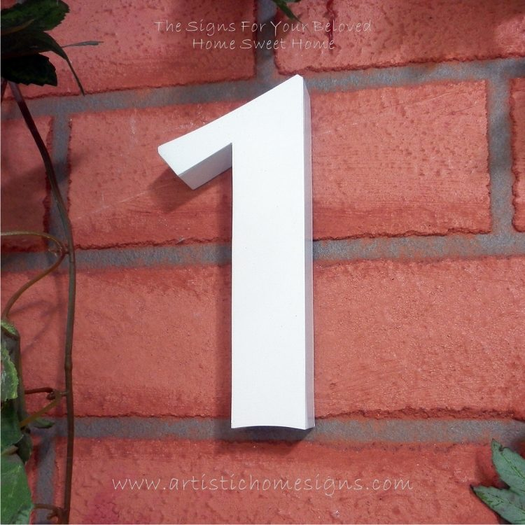 Weather Resistant House Numbers - Standard Font - White 02