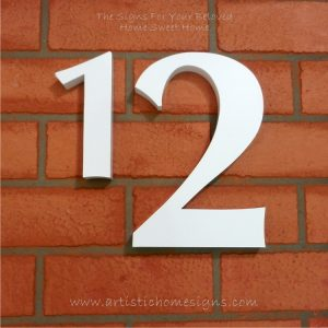 Weather Resistant House Numbers - Standard Font - White 05