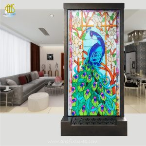 Artistic Waterfalls - Unique Handcrafted Etching Glass Feng Shui Divider Floor Fountain - Peacock