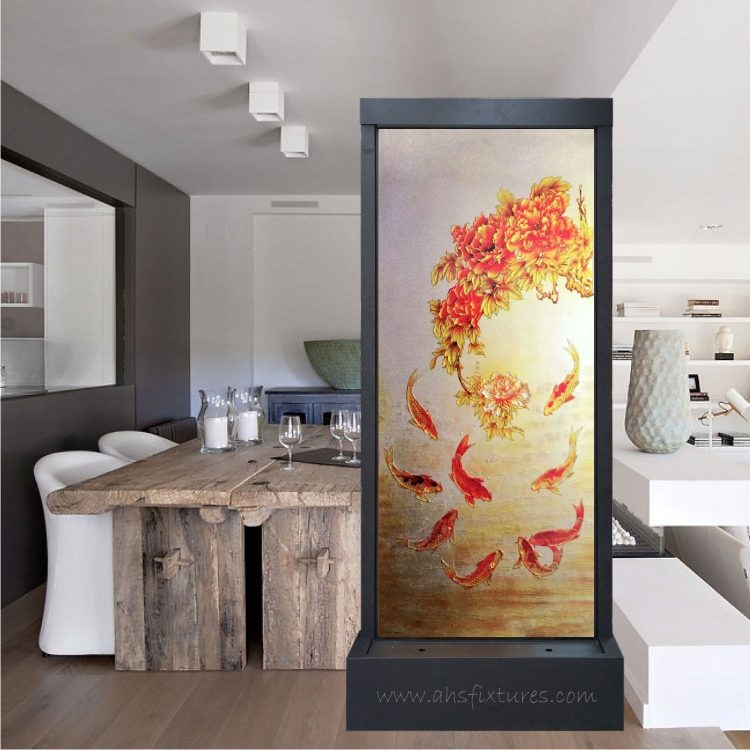 Artistic Waterfalls – Unique Handcrafted Etching Glass Feng Shui Divider Floor Fountain - Koi + Floral