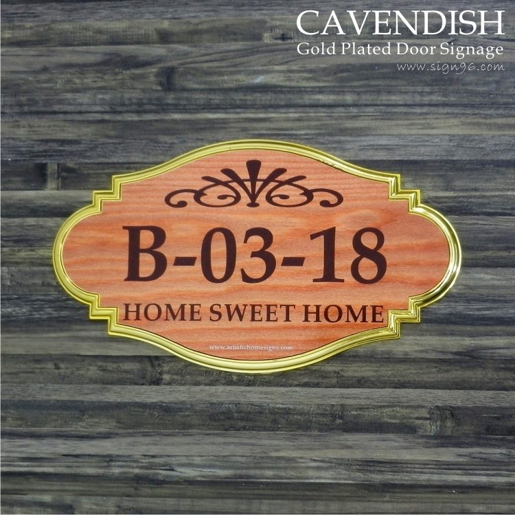 Cavendish Gold Plated Door Signage -Wooden Finishing Unit Number Elegant Interior Door Signs - DOR-121