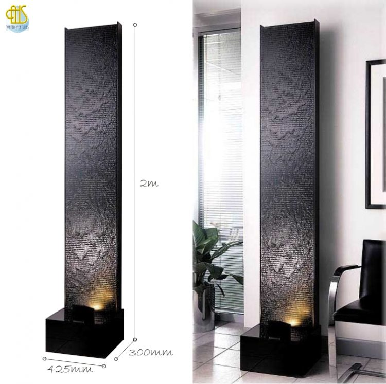 WFA-420 Elegant Wave Black Acrylic Floor Fountain Water Features Made In Malaysia
