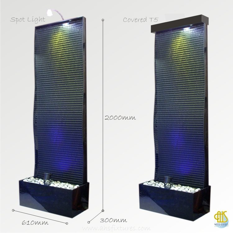WFA-620 Elegant Wave Black Acrylic Floor Fountain Water Features Made In Malaysia