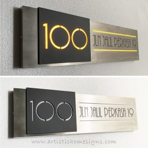 Modern House Number Illuminated Stainless Steel Signs Made In Malaysia