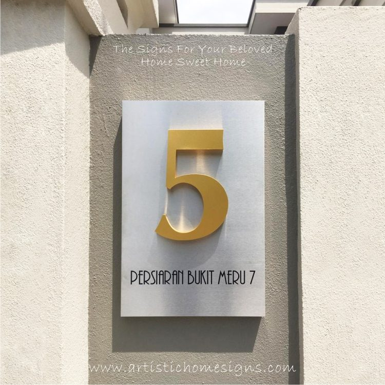 3D Weather Resistant House Numbers In Gold Finishing On Stainless Steel Etching Plaque 5 Made In Malaysia